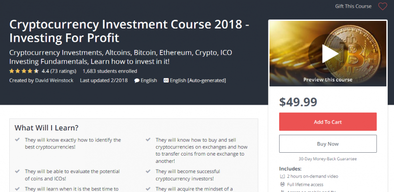 Cryptocurrency Investment Course 2018 - Investing For Profit