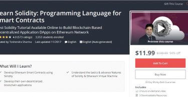 Learn Solidity Programming Language for Smart Contracts