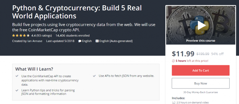 Python & Cryptocurrency Build 5 Real World Applications